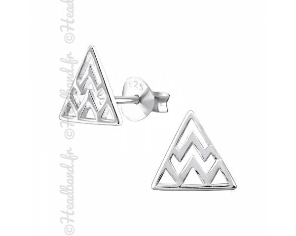 Clous d'oreilles triangle inca argent 925