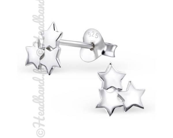 Clous d'oreilles trio d'étoiles argent 925