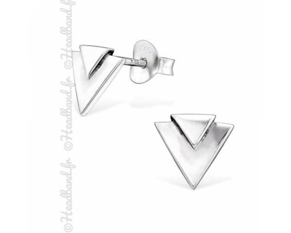 Clous d'oreilles motif triangle relief argent 925