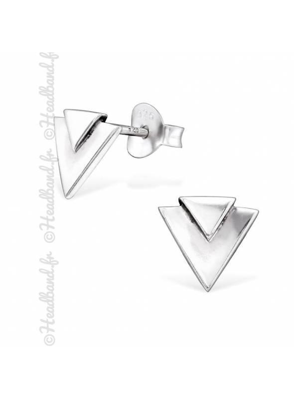 Clous d'oreilles motif triangle argent 925