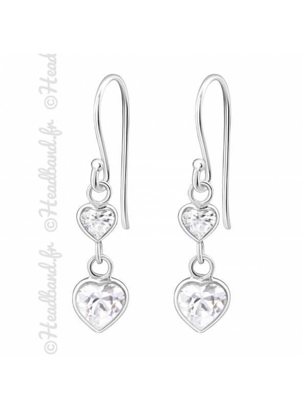 Boucles avec pendentif coeur cristal blanc argent 925
