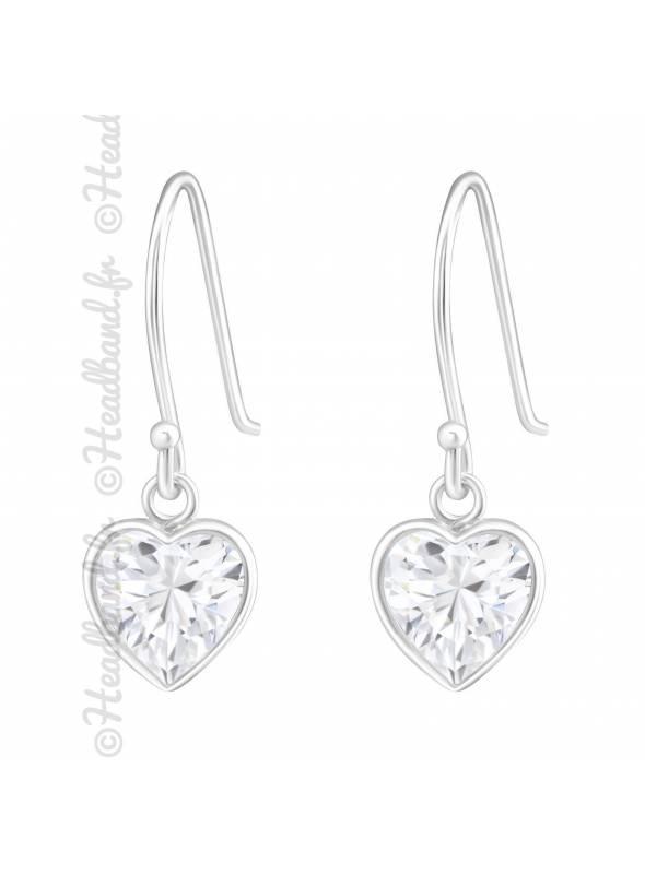 Boucles d'oreilles coeur strass CZ blanc argent 925