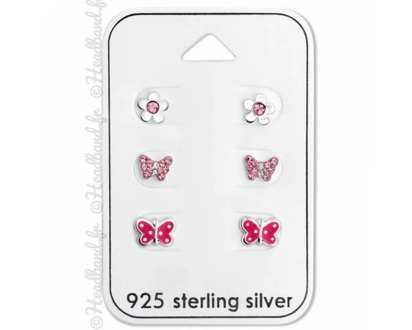 3 paires clous d'oreilles pour enfant papillon fleur argent