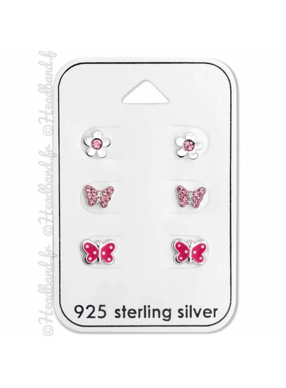 Lot de 3 paires clous d'oreilles pour enfant papillon argent