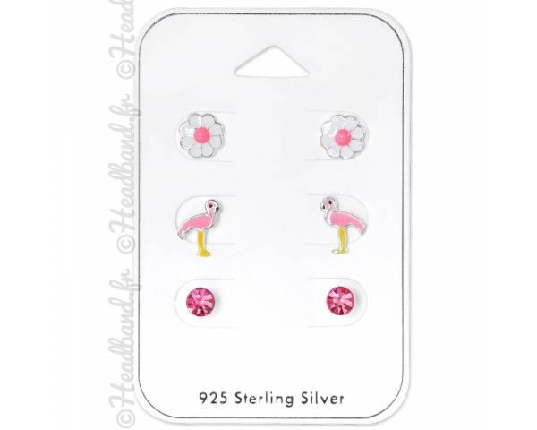3 clous d'oreilles enfant flamand rose strass fleur argent