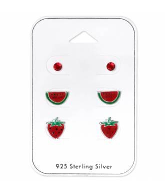3 clous d'oreilles enfant pasteque fraise stud rouge argent