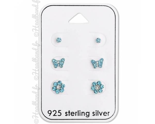 3 clous d'oreilles enfant strass papillon fleur bleu argent