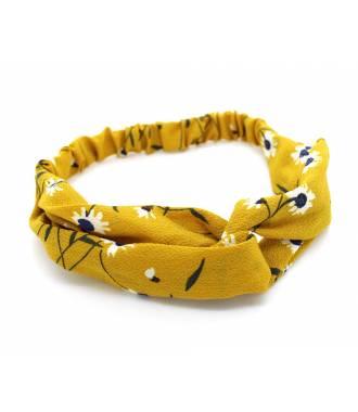 Turban croisé estival fleuri moutarde
