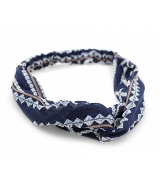 Bandeau mousseline stretch bleu et blanc