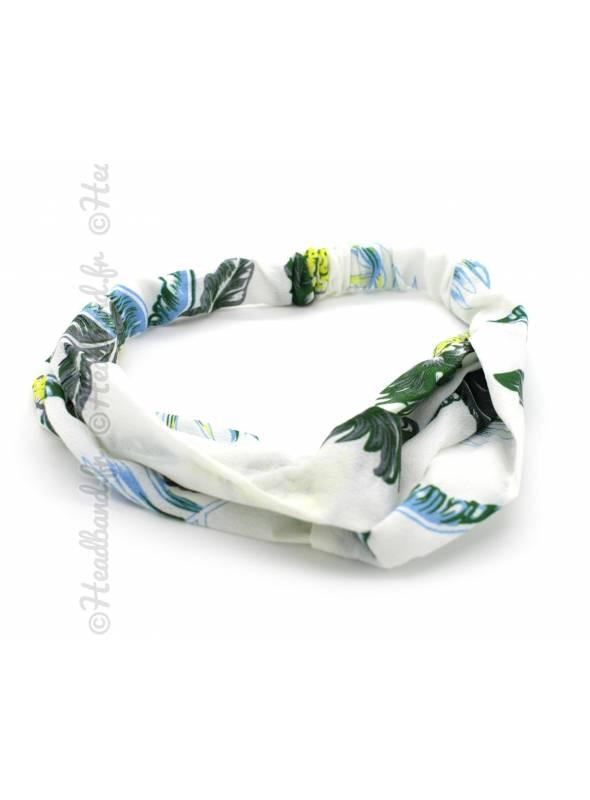 Turban imprimé feuilles palmiers blanc