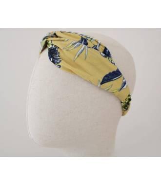 Turban imprimé feuilles palmiers jaune
