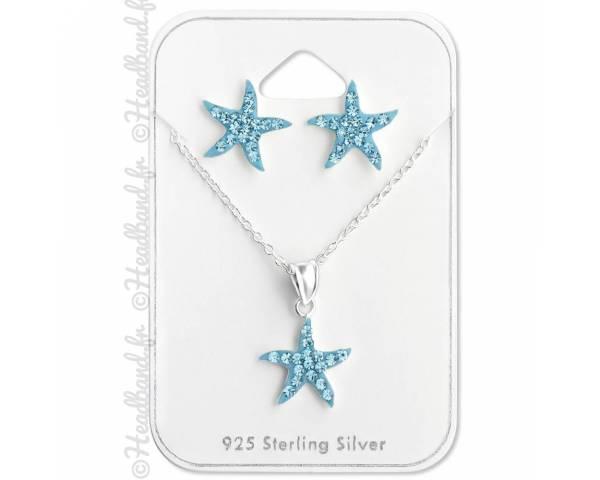 Parure collier et boucles étoile strass bleu argent 925