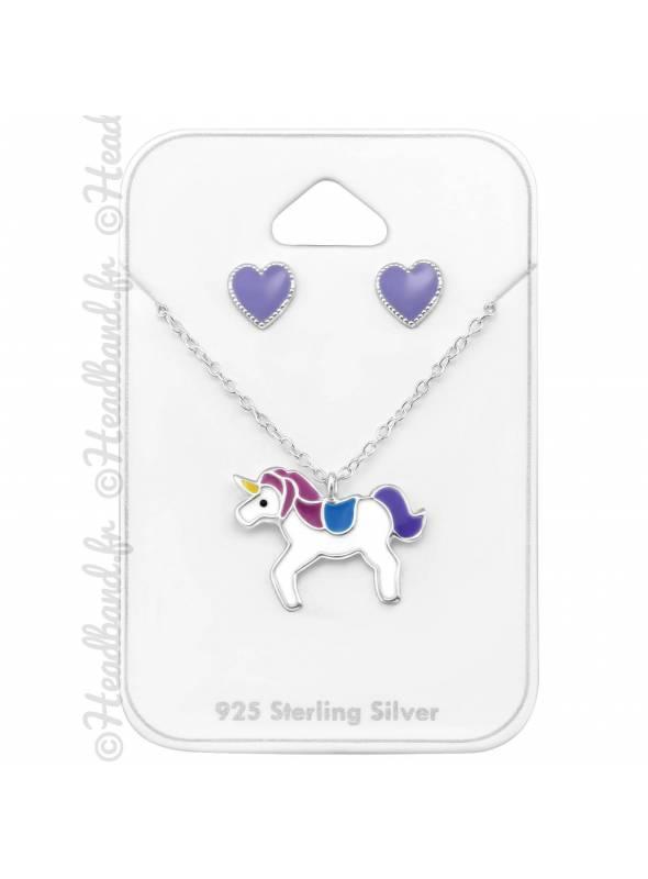 Parure collier et boucles étoile licorne violette argent 925