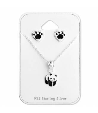Parure collier et boucles panda argent 925