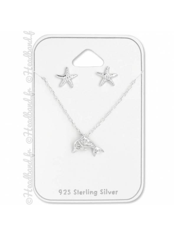 Parure collier et boucles dauphin étoile de mer argent 925