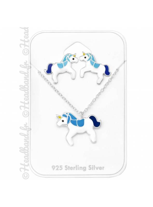 Parure collier et boucles licorne bleue argent 925
