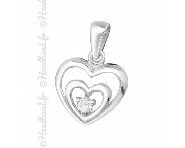 Pendentif double coeur strass blanc argent 925