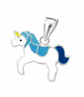 Pendentif enfant licorne émail bleu argent 925