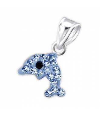 Pendentif enfant dauphin strass bleu argent 925