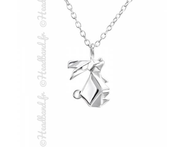 Collier pendentif origami lapin argent 925