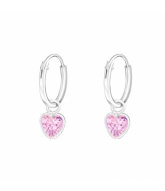 Créoles enfant coeur cristal rose argent 925
