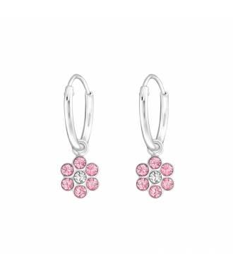 Créoles enfant fleur cristal rose Swarovski® argent 925