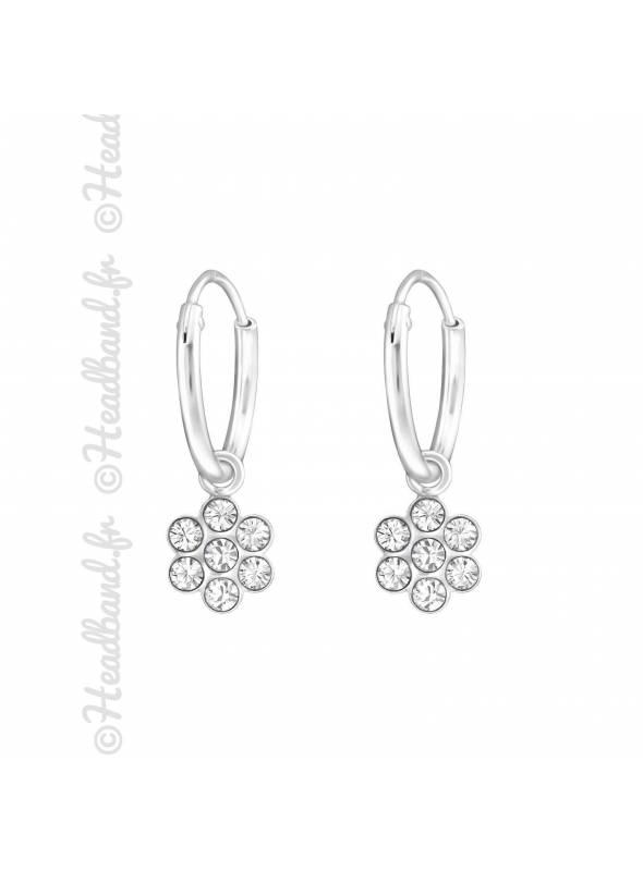 Créoles enfant fleur cristal blanc Swarovski® argent 925