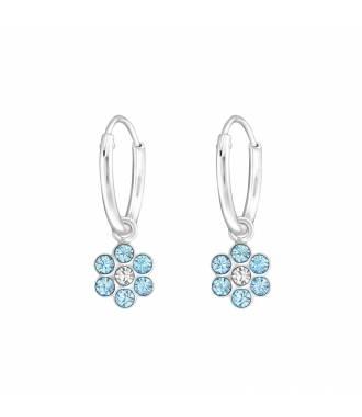 Créoles enfant fleur cristal bleu Swarovski® argent 925