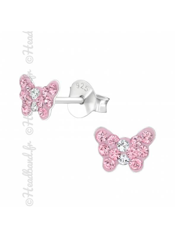 Clous d'oreilles enfant papillon cristal rose Swarovski®