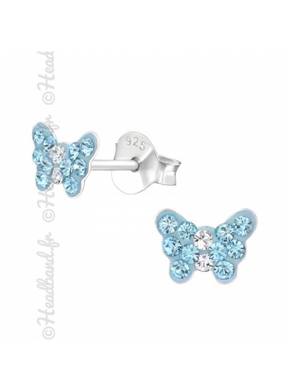 Clous d'oreilles enfant papillon cristal bleu Swarovski®