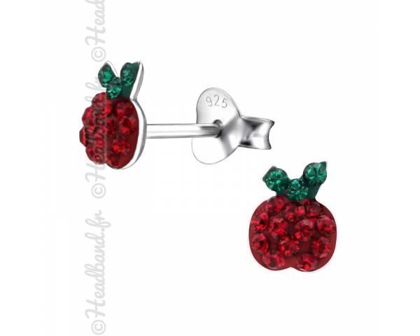Clous d'oreilles enfant pomme cristal rouge Swarovski®