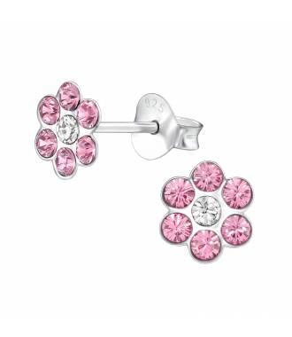 Clous d'oreilles enfant fleur cristal rose Swarovski®