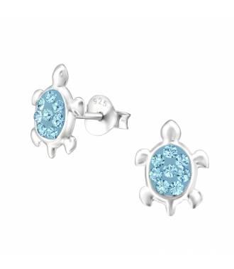 Clous d'oreilles enfant tortue cristal bleu Swarovski®
