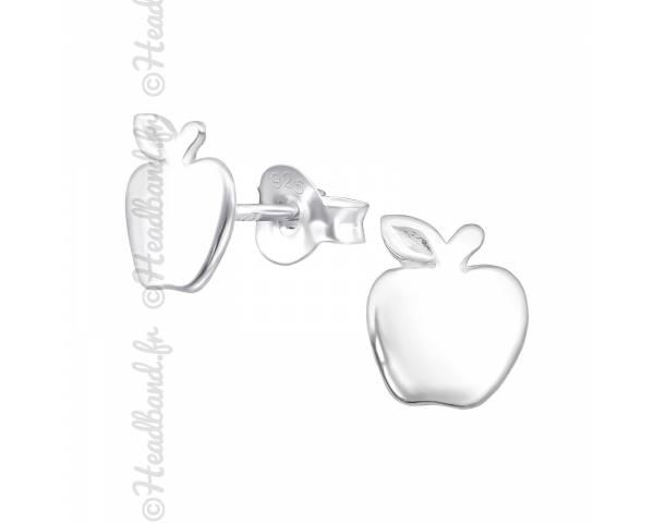 Boucles d'oreilles enfant motif pomme argent 925