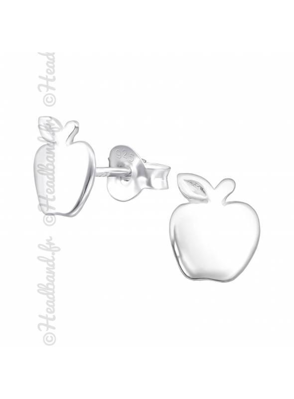 Clous d'oreilles enfant motif pomme argent 925