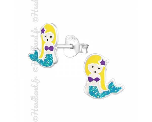 Boucles d'oreilles enfant sirène bleue argent 925