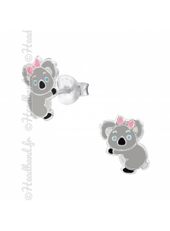 Clous d'oreilles enfant motif koala argent 925
