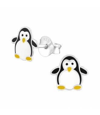 Clous d'oreilles enfant motif pingouin argent 925