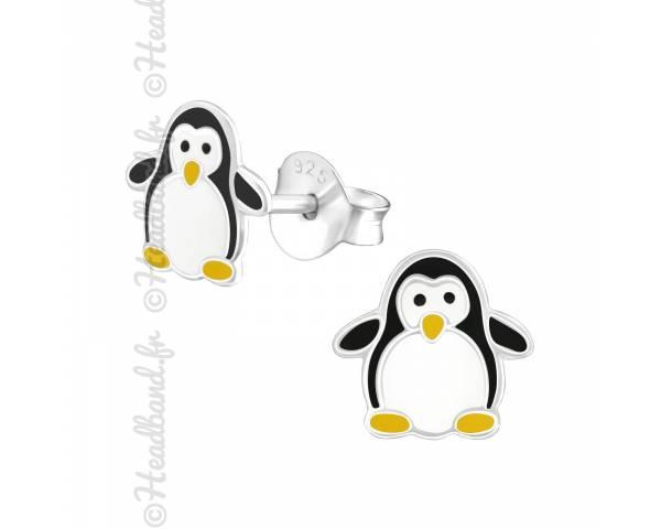 Boucles d'oreilles enfant motif pingouin argent 925