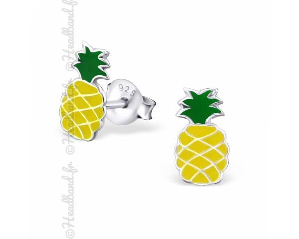 Boucles d'oreilles enfant motif ananas argent 925