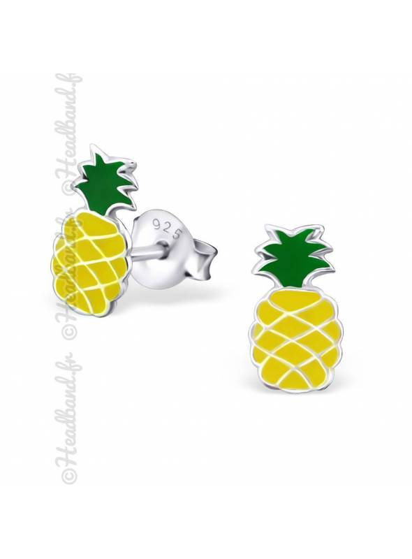 Clous d'oreilles enfant motif ananas argent 925