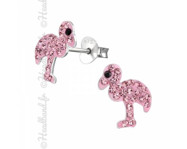 Boucles d'oreilles enfant flamand rose strass argent