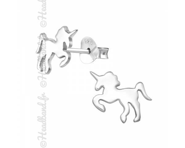 Boucles d'oreilles enfant motif licorne argent 925