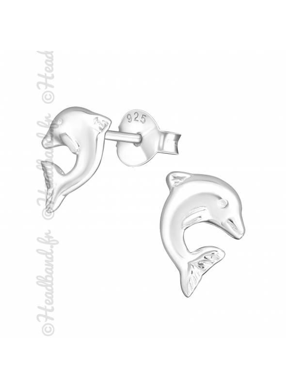 Clous d'oreilles enfant motif dauphin argent 925