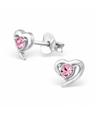 Clous d'oreilles enfant coeur pierre rose argent 925