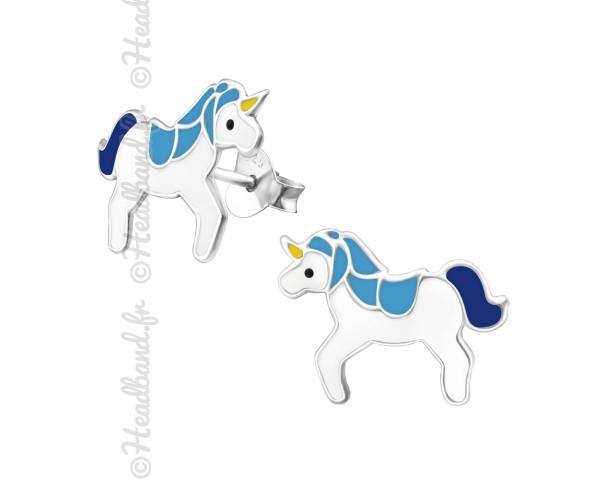 Clous d'oreilles enfant licorne bleue epoxy argent 925