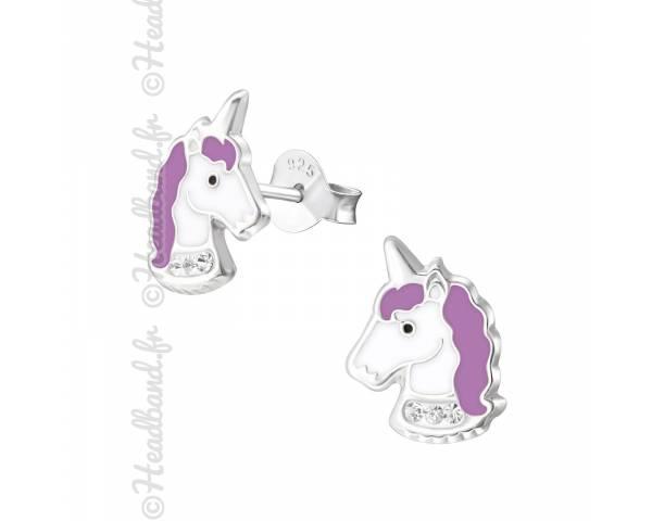 Clous d'oreilles enfant tête licorne violette argent 925