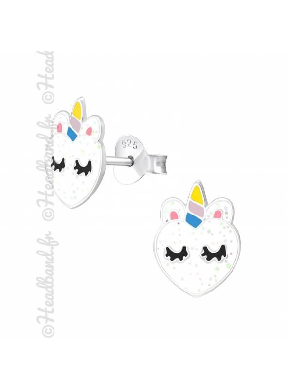 Boucles d'oreilles coeur paillettes scandinave argent 925