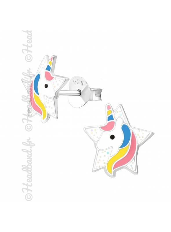 Clous d'oreilles étoile motif licorne colorée argent 925