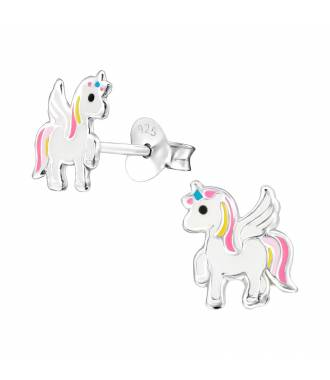 Clous d'oreilles enfant licorne volante argent 925